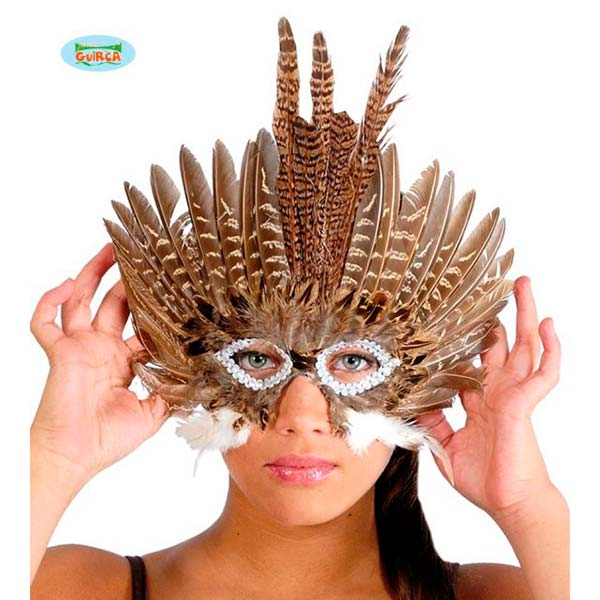 Antifaz de carnaval plumas marrones