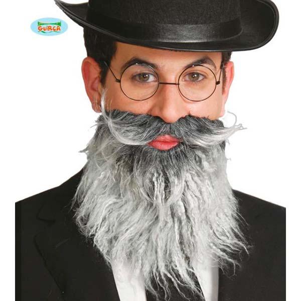 Barba canosa con bigote picassiano