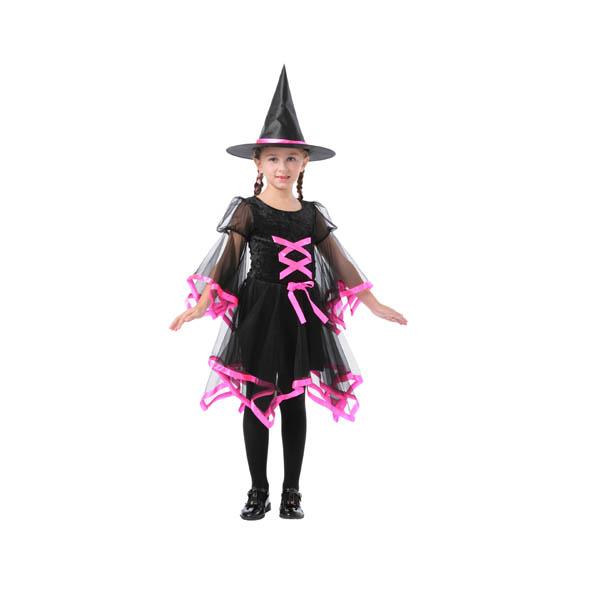 BT - Disfraz de bruja con lazo rosa para niña