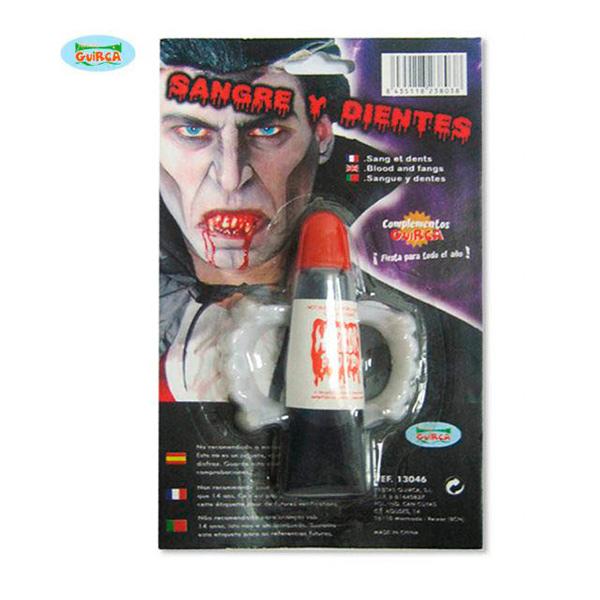 Dientes de Drácula con bote de sangre
