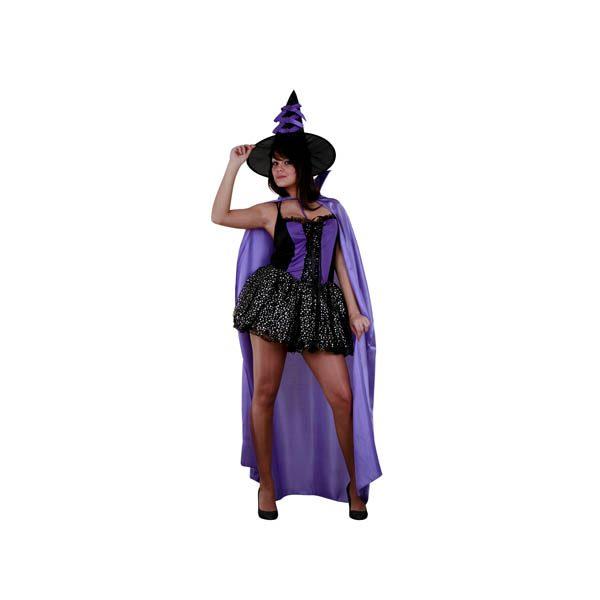 Disfraz bruja sexy morado y negro