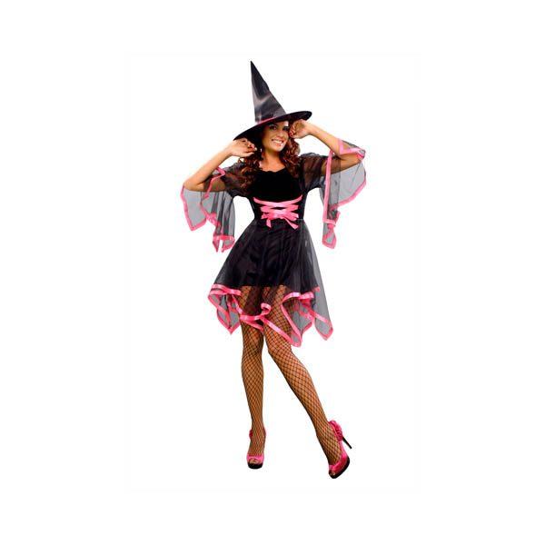 Disfraz de bruja negra y rosa para mujer