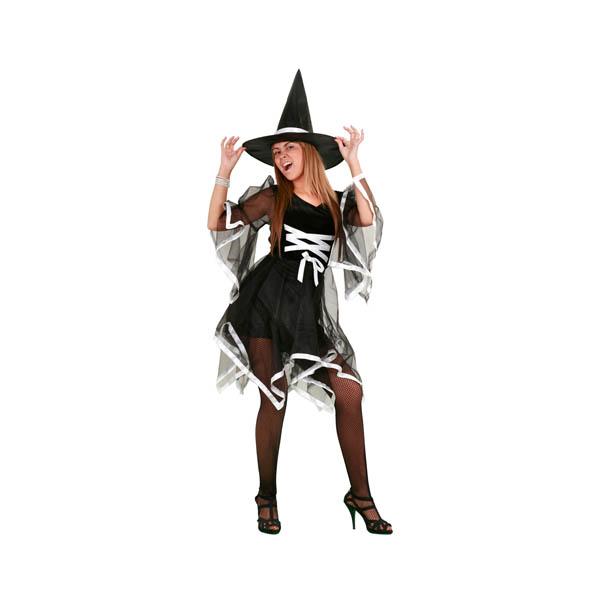 Disfraz de bruja blanca y negra para mujer