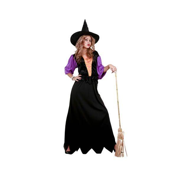 Disfraz de bruja negra, naranja y morado para mujer