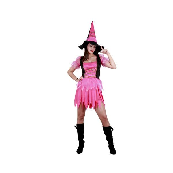 Disfraz de bruja rosa para mujer