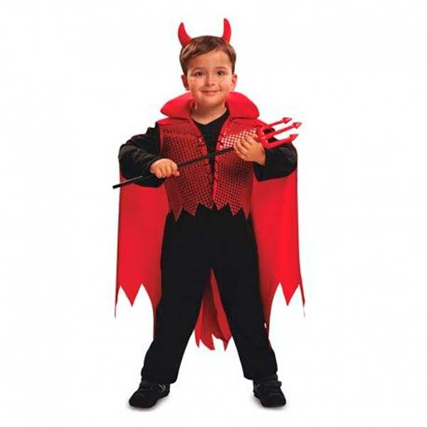 Disfraz de demonio rojo con capa para niño