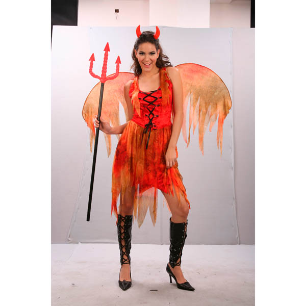 Disfraz de diablesa roja para mujer con alas