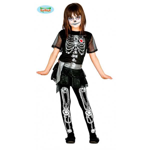Disfraz de esqueleto brillante para niña