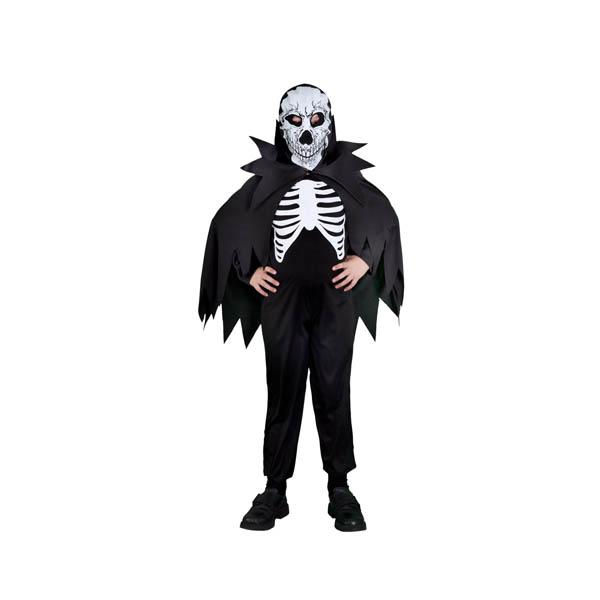 Disfraz de esqueleto con capa para niño