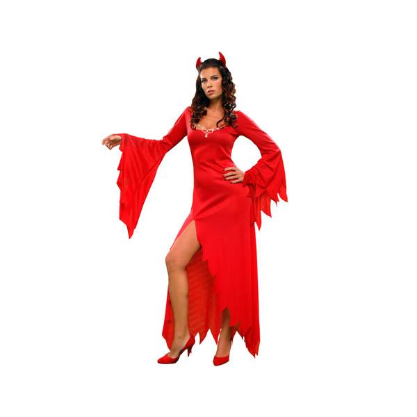 Disfraz de diablesa roja para mujer con cuernos