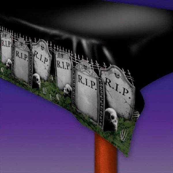 Mantel de decoración Halloween tipo cementerio