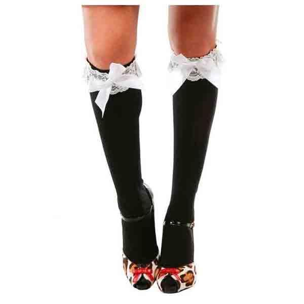 Medias negras con lazos blancos camarera disfraces cashmoron - Zapatos camarera antideslizantes ...