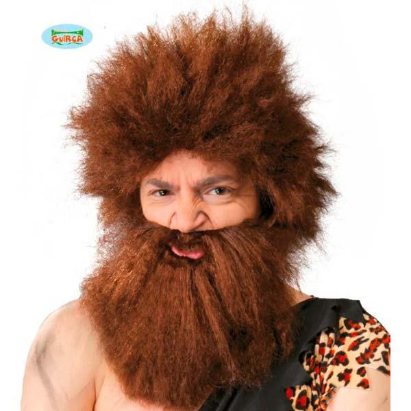 Peluca y barba de cavernícola